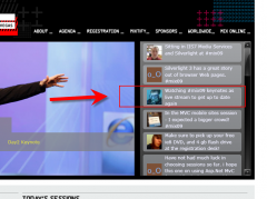 My tweet at the mix 2009 website of Microsoft
