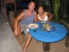Michael and May of the Coffee Asylum on Long Beach, Koh Lanta