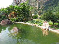 The water looks very green, but it is fresh from a private spring and has the perfect temperature to cool down