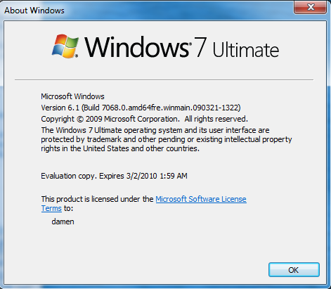 Windows 7 - Build 7068